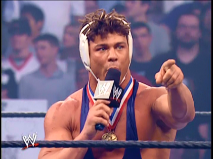 Mattel WWE Olympic Gold Medalist Kurt Angle Wrestling Figure With Wig!