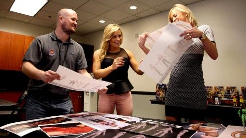 Mattel WWE Designer Bill Miekina shows designs to Summer Rae & Natalya!