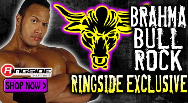 The latest Mattel WWE Ringside Collectibles Exclusive, 'Brahma Bull' The Rock!