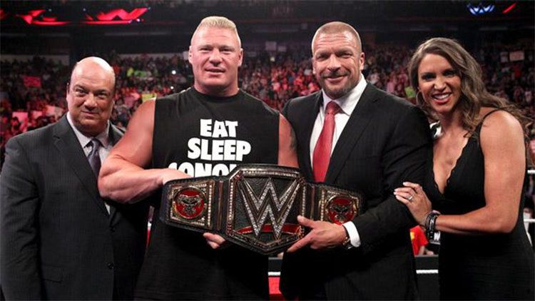 The Authority presents Brock Lesnar with his new WWE World Heavyweight Championship!