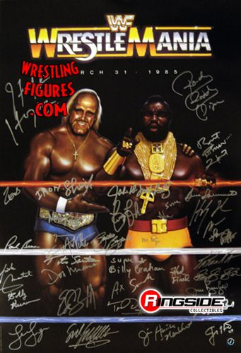 Wrestlemania Poster Autographed By 35 Wwe Legends