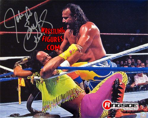 Jake Roberts King Cobra Biting Macho Man Autographed