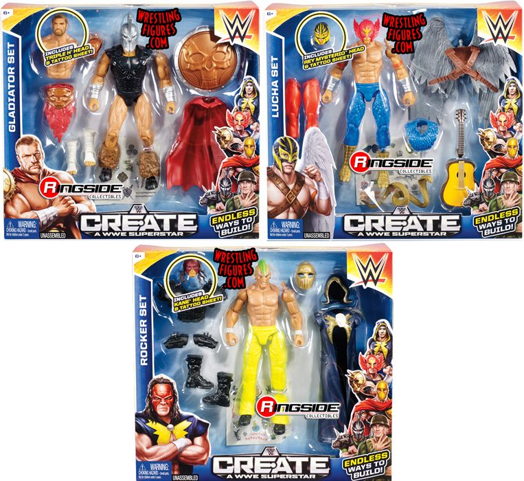 WWE Create-A-Superstar (Large Packs) - Complete Set of 3 WWE Toy ...