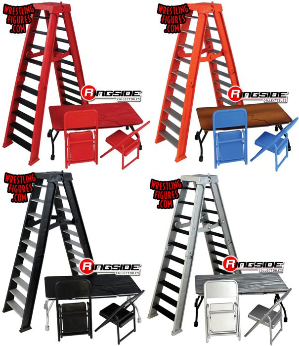 Complete Set of all 4 ULTIMATE Ladder Table /& Chairs Playsets For WWE Figures