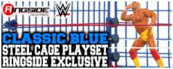 Wicked Cool Toys Classic Blue Steel Cage Playset w/ WrestleMania 2 & SummerSlam Ring Skirts!