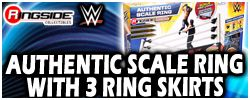 Wicked Cool Toys WWE Authentic Scale Wrestling Ring w/ 3 Ring Skirts !