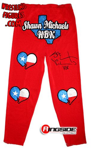 Shawn Michaels Red Hbk Autographed Wrestling Tights