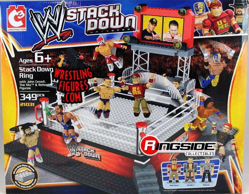 WWE Stackdown Ring with John Cena, The Miz & Referee figures!