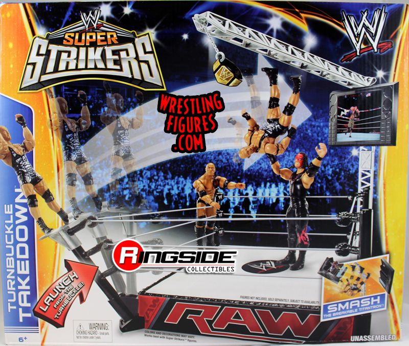 Mattel WWE Super Strikers Turnbuckle Takedown Ring Playset!