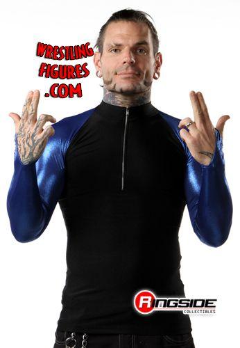 Jeff Hardy Spandex Zip Up Blue Sleeves Tna T Shirt
